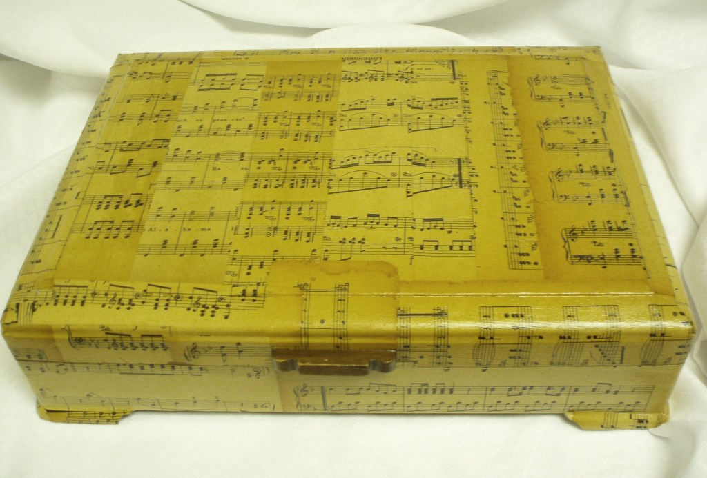 Upcycled Silverware Box and Vintage Sheet Music