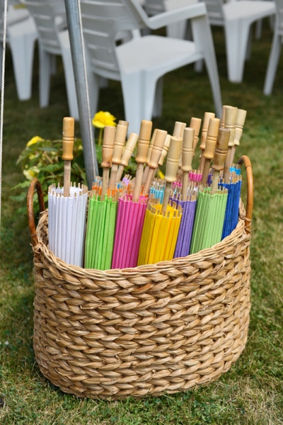Basket of Umbrellas for a Wedding